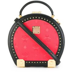 MCM round studded shoulder bag (3 240 BGN) ❤ liked on Polyvore featuring bags, handbags, shoulder bags, red, red shoulder handbags, red shoulder bag, pvc purse, red purse and mcm