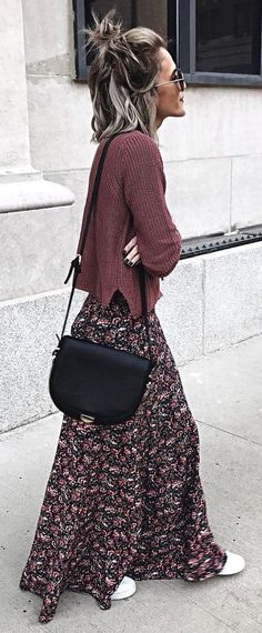 Brown Knit + Printed Maxi Skirt + Black Shoulder Bag