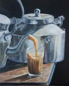Masala Chai and Tea Can Watercolour Paintings, Watercolor Artists, Oil Painting Abstract, Acrylic Paintings, Oil Paintings, Abstract Art, Art Painting Gallery, Food Painting, Painting Studio