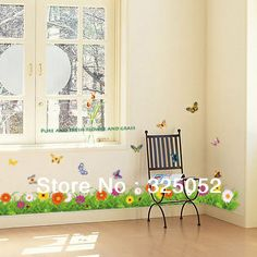 High quality!2013 New Pure and Fresh Flower and grass 150*40cm DIY Removable Art Vinyl Wall Stickers Decor Mural Decal-in Wall Stickers from Home & Garden on Aliexpress.com