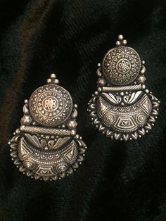 Chand Peacock Silver Earrings