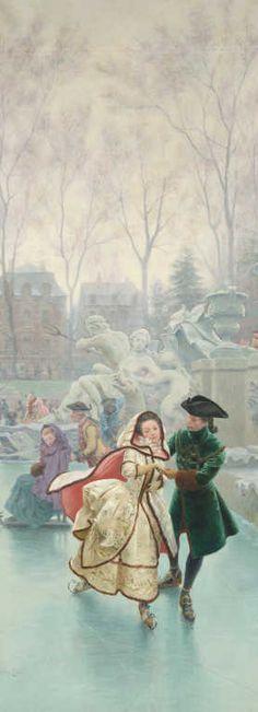 Maurice LELOIR (1853-1940) Les quatre saisons à Versailles et au Trianon Les patineurs Huile sur toile signée en bas à gauche. 267 x 102 cm