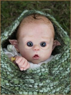 For some reason this Elf Baby gives me the creeps Woodland Creatures, Magical Creatures, Fantasy Creatures, Clay Fairies, Elves And Fairies, Flower Fairies, Reborn Dolls, Reborn Babies, Obelix