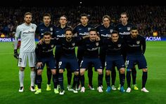 Atletico Madrid line up prior to the UEFA Champions League quarter final first leg match between FC Barcelona and Club Atletico de Madrid at Camp Nou on April 5, 2016 in Barcelona