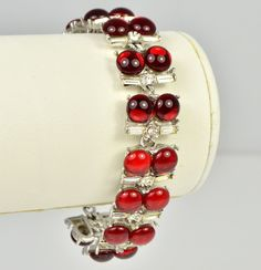 Vintage Bracelet 1950s, Red Cabochon & Clear Baguette Silvertone.