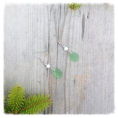 Sea Glass Earrings, long earrings, unique jewelry, green earrings by brindocean on Etsy