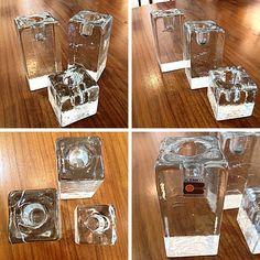 #Vintage #Blenko Clear #Glass #CandleHolders Set Of 3. Info @ link below.  | Rocket Century  - St. Louis, MO