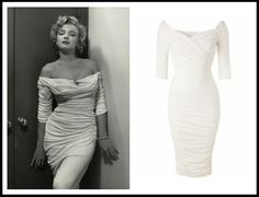 The Monica Dress in white by designer Laura Byrnes (black Label/ Pinup Couture)  - find your inner Marilyn Monroe in this fantastic dress <3 Mondo Kaos