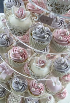 Lilac & pink cupcake tower by Cotton and Crumbs