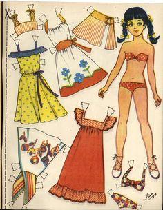 LINA '83 Barbie Paper Dolls, Vintage Paper Dolls, Fabric Dolls, Paper Clothes, Doll Clothes, Paper Toys, Paper Crafts, Paper Dolls Printable, Dress Up Dolls