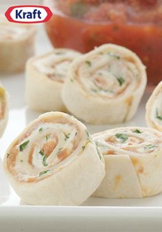 PHILADELPHIA Creamy Tortilla Roll-Up – Between the cream cheese and the ready-made refried beans, this recipe's got the tasty Tex-Mex appetizer game all rolled up!