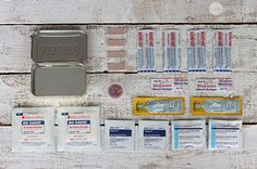 "Mini ""emergency"" kits. Made with Altoid tin. Several ideas. Sewing kit, wilderness kit, first aid, ""urban"" Kit."