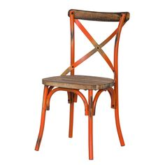 Joveco Distressed Metal Chair with Cross Back Designed, Orange