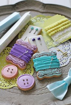 Decorated Cookies - embroidery cotton/supplies  Perfect for next Crafternoon Tea!