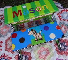 Personalized Stool For Kids Custom Painted Step Stool For Boys Or Girls Two…