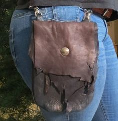 Large Rustic Deerskin Belt Loop Hip Bag, Chocolate and Black