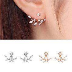 925 Silver Needle Leaves Cubic Zircon Crystal Stud Earrings For Women
