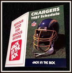 1987 SAN DIEGO CHARGERS JACK IN THE BOX FOOTBALL POCKET SCHEDULE FREE SHIPPING #Pocket #SCHEDULE