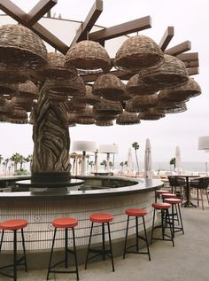 A Weekend in Huntington Beach at the Pasea Hotel & Spa - Green Wedding Shoes Outdoor Restaurant Design, Rooftop Restaurant, Rooftop Bar, Boutique Interior, Restaurant Interior Design, Lounge Design, Cafe Design, Bamboo Pendant Light, Rooftop Design