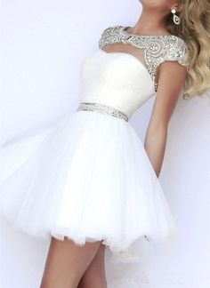 White sparkly hoco prom short dress fit and flare