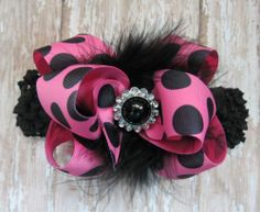 Hot Pink & Black BIG Hair bow headband Boutique marabou bling pageant Cici's