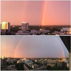 Was für ein Himmel! Habt ihr auch gestern diesen tollen regenbogen am Himmel beobachten können? Lieber Sommer, mach es nochmal für uns! :)  What a sky! Have you also seen this great rainbow in the sky yesterday? Dear summer, please do it one more time for us! :)  Photo @jslwoelk via Instagram   #Sheratonmunich #munich #sky #visit_munich