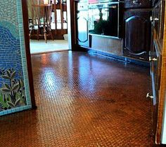 I wish I had the patience to do this -- although I think now you can actually buy pennies laid on mesh, like tiles. So pretty! (So heavy?)    Penny floors :: Hometalk