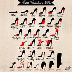 Infographic: different type of fancy heels, shoes, vocabulary Drawing Tips, Drawing Reference, Drawing Hair, Drawing Drawing, Design Reference, Fashion Terms, Fashion Terminology, Types Of Fashion Styles, Fashion Fashion