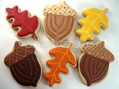 Autumn Leaves & Acorns Very cool acorn cookies plus leaves for autumn / fall Halloween Cookies Decorated, Halloween Sugar Cookies, Iced Sugar Cookies, Sugar Cookie Frosting, Royal Icing Cookies, Cupcake Cookies, Cupcakes, Acorn Cookies, Leaf Cookies
