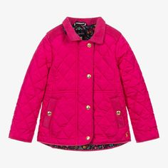Girls fuchsia pink jacket from Joules, made in silky-soft quilted polyester with corduroy trim. Lightly padded, it is lined in navy blue floral cotton with matching fabric on the underside of the collar. There is a popper fastening flap over a concealed zip fastening and poppers on the front pockets. The gold poppers are logo embossed and there is gold logo embroidery on the hem and back. Joules Girls, Waterproof Rain Jacket, Baby Coat, Denim Coat, Pink Jacket, Quilted Jacket, Pink Girl, Canada Goose Jackets, Designer Coats