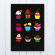 Cupcakes Poster Cupcakes Nursery Art Cupcakes by AwesomePeppers