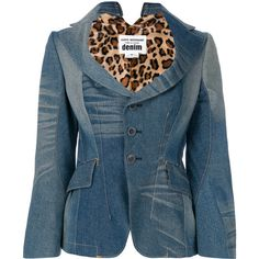 Junya Watanabe Comme Des Garçons fitted denim blazer ($1,794) ❤ liked on Polyvore featuring outerwear, jackets, blazers, blue, fitted blazer jacket, long sleeve denim jacket, blue jackets, blue blazers and fitted denim blazer