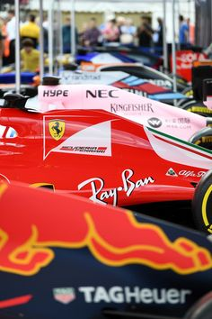 Formula 1 cars lined up.   Ferrari, Scuderia Ferrari  Red Bull F1  Force India  Williams  Mclaren   Sauber etc  Let me show you... on tumblr