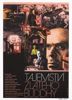 Movie poster Secret of the Golden Buddha designed by Zdeněk Ziegler, Czechoslovakia, 1973   #movieposter #collage #graphidesign