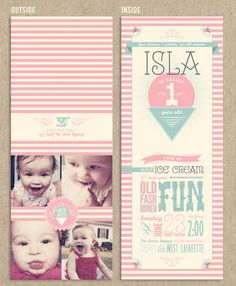 First Birthday Party Invitation Ice Cream by Alley9CreativeStudio