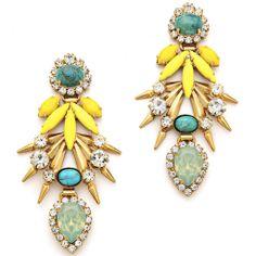 Elizabeth Cole turquoise statement earrings
