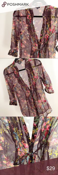 NWOT - Floral Sheer Blouse / Cover Up Gorgeous New sheer blouse that also looks fantastic as a cover up Blue Asphalt Tops Blouses