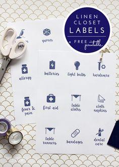 Printable Linen Closet Labels