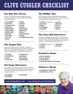 A very handy checklist, Clive Cussler books are so good!