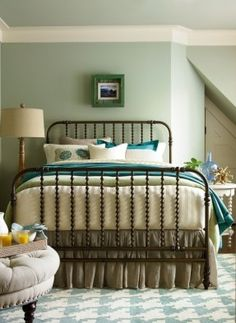 other favorite. spindle + iron!!  this is the bed--king sized. we already have a lamp just like the one in the pic.