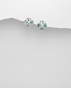 sterling silver stud earrings decorated with abalone shell