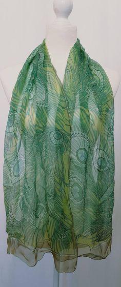 331cc2e10f0 Vintage 90 s LIBERTY LONDON  HERA  Design Silk Chiffon Long Print Scarf-  Soft Green and Gold Tones