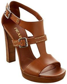 Prada Leather Stacked Heel Sandal