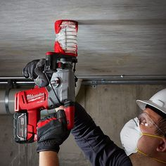 "protoolreviewsThink you have to be attached to a dust extractor to be OSHA-compliant for silica dust? Think again! @milwaukeetool just announced the new Dust Trap - a vacuumless shroud that fits any SDS-Plus rotary hammer with bits up to 8"" in length!  #tools #concrete #masonry #nothingbutheavyduty #NBHD #SDSPlus #rotaryhammer #table1 #OSHA"