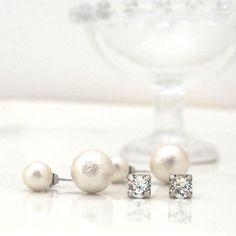 White Cotton Pearl Stud Earrings 8mm Valuable Set 4 by MiyabiGrace
