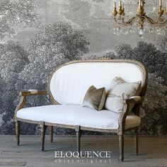 Bella Cottage Eloquence Louis XV Vintage Bright Distressed Gilt Daybed $2,525.00 #thebellacottage #eloquence #shabbychic Louis Xvi, Settee, Hollywood Regency, Daybed, Luxury Interior, Love Seat, Charcoal, Shabby Chic, Cottage