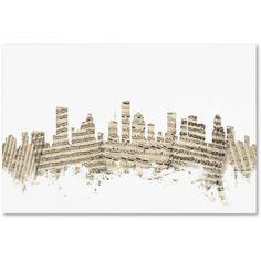 Trademark Fine Art Houston Texas Skyline Sheet Music II Canvas Art by Michael Tompsett, Size: 12 x 19, Multicolor