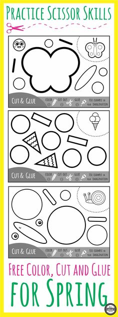 Practice Scissor Skills – Cut, Color and Glue for Spring – Your Therapy Source - Preschool Children Activities Toddler Learning, Preschool Learning, Educational Activities, In Kindergarten, Fun Learning, Preschool Activities, Early Learning, Motor Activities, Learning Shapes