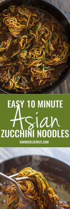 Easy 10 Minute Asian Zucchini Noodles (low-carb, Paleo) #blackbeansauce #lowcarbnoodles #zoodles #ketogeniclifestyle