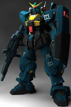 RX-178 Gundam Mk-II (Titans colors) unit 03 is a mobile suit that appears in the anime series Mobile Suit Zeta Gundam. It is an upgrade over the famous RX-78-2 Gundam that served in the One Year War. Front